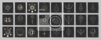 Fototapeta Vector illustration set of moon phases. Different stages of moonlight activity in vintage engraving style. Zodiac Signs