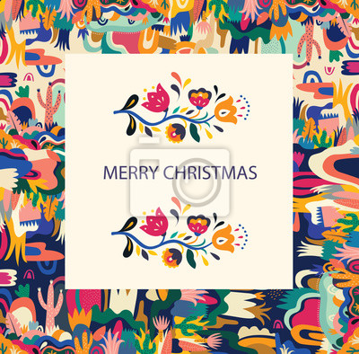 Vector illustration with beautiful pattern. Holiday greeting card for Christmas holiday