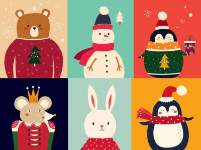 Fototapeta Vector illustration with funny characters bear, snowman, penguin, mouse and bunny
