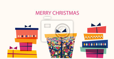 Fototapeta Vector illustration with gift box. Holiday greeting card for New Year and Christmas holidays