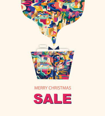 Vector illustration with gift box. Holiday greeting card for New Year and Christmas holidays