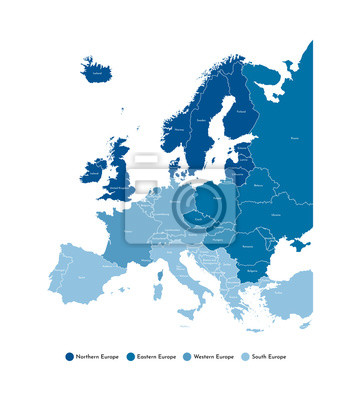 Fototapeta Vector illustration with simplified map of all European states (countries). Blue silhouettes, white outline and background