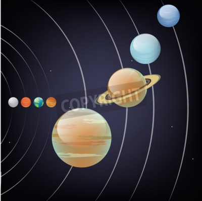 Fototapeta Vector ilustracją planety układu słonecznego przedstawiający orbitę wokół Słońca. Astronomia banner edukacyjne