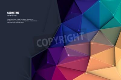 Fototapeta Vector ilustracji białego papieru (puste miejsce dla zawartości) na abstrakcyjny 3D geometryczny, wielokątny, trójkąt wzór kształtu i wielokolorowe, niebieskie, fioletowe, żółte i zielone tło