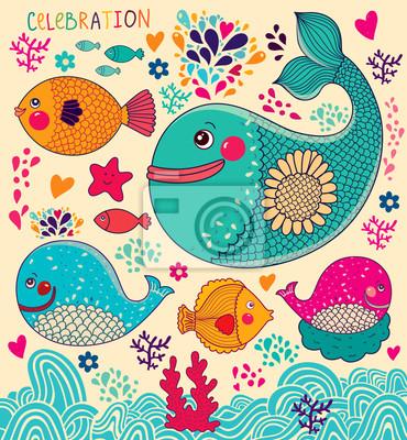 Fototapeta Vector ilustracji z wielorybów