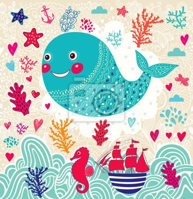 Fototapeta Vector ilustracji z Zabawna morskich wieloryba