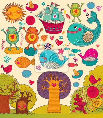 Vector ilustracji ze zwierzętami