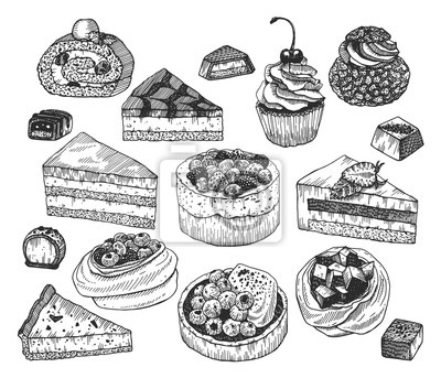 Fototapeta Vector ink sketch of desserts. Hand drawn collection of cakes, tarts, meringues and candies isolated on a white.