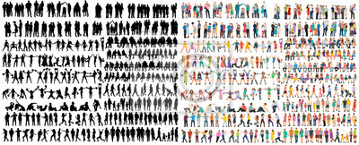Fototapeta vector isolated people silhouettes set