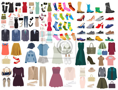 Fototapeta vector, isolated, set of clothes and shoes