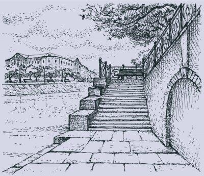 Fototapeta Vector miasta. Architectural motywem starym kamiennym nabrzeżu