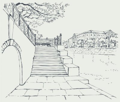 Fototapeta Vector miasta. Stare kamienne molo. Kroki do alei