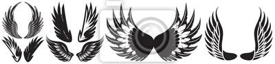 Fototapeta Vector monochrome set of different wings for design