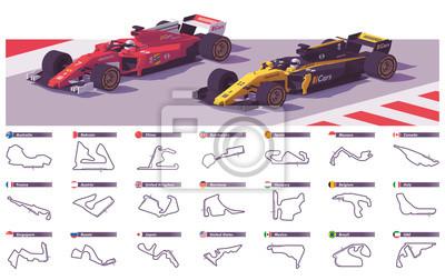 Fototapeta Vector motor racing tracks