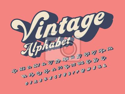Fototapeta Vector of groovy hippie style alphabet design