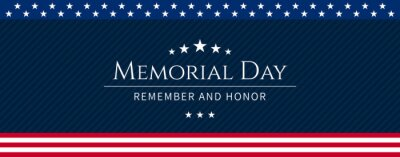 Fototapeta Vector of US Memorial Day celebration background banner or greeting card, with text and USA flag elements.
