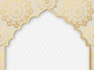 Fototapeta Vector ornate frame with indian or arabesque motif. Template for indian, arabic wedding invitations, oriental holidays. Copy space.