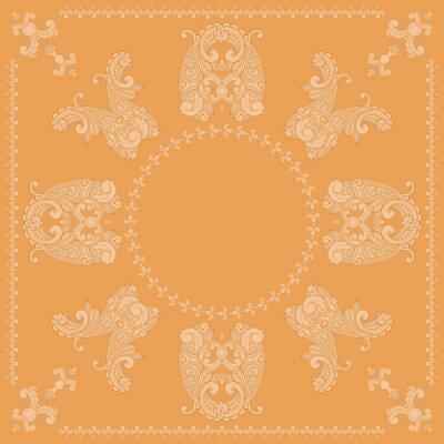 Fototapeta vector paisley wzór plac w kolorze pomarańczowym