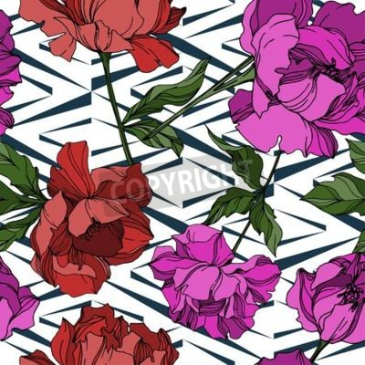 Fototapeta Vector Peony floral botanical flowers. Wild spring leaf wildflower isolated. Black and white engraved ink art. Seamless background pattern. Fabric wallpaper print texture.