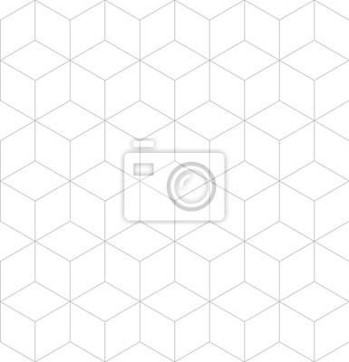 Vector seamless cubic pattern. Modern thin hexagon grid texture.