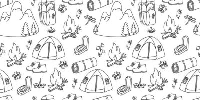 Fototapeta Vector seamless pattern. Mountain, and tourism and camp equipment on white background. Great for fabrics, wrapping papers, wallpapers, covers. Doodle hand drawn sketch illustration black outlines..