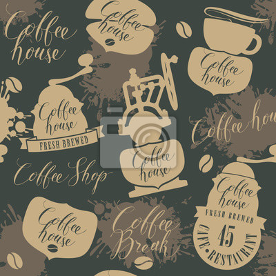 Vector seamless pattern on coffee and coffeehouse theme with old coffee grinders, other coffee symbols and handwritten inscriptions in retro style. Can be used as wallpaper or wrapping paper