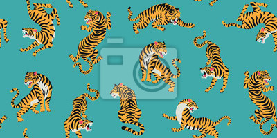 Fototapeta Vector seamless pattern with cute tigers on background. Fashionable fabric design.