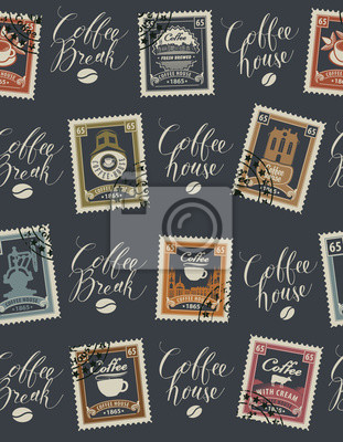 Vector seamless pattern with postage stamps and handwritten inscriptions on coffee and coffeehouse theme in retro style on dark background. Can be used as wallpaper or wrapping paper