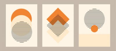 Fototapeta Vector set. Contemporary  compositions with geometric figures. Abstract poster.  Boho wall decor. Mid century art print.
