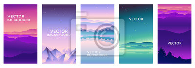 Fototapeta Vector set of abstract backgrounds with copy space for text and bright vibrant gradient colors - landscape with mountains and hills  - vertical banners and background for  social media stories, banner