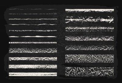 Fototapeta Vector set of chalk seamless strokes. Hand drawn grunge lines on chalkboard background. Chalk grainy texture. Art brushes inside.