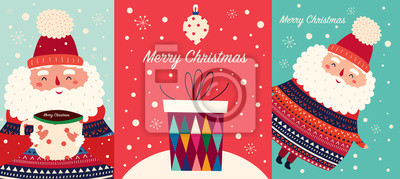 Vector set of Christmas cartoon illustration. Cute Santa Claus with a cup of hot chocolate, gift box