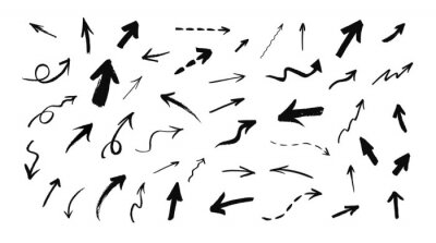 Fototapeta Vector set of hand drawn grunge arrows