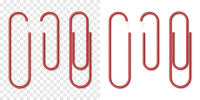 Fototapeta Vector set of red metallic realistic paper clip