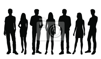 Fototapeta Vector silhouettes of  men and a women, a group of standing business people, black color isolated on white background
