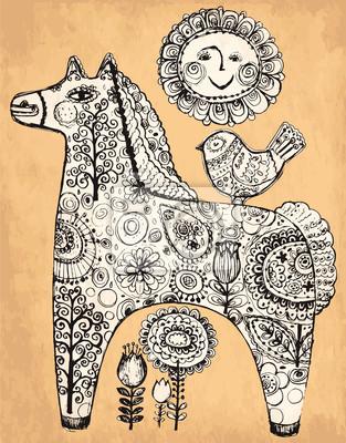 Fototapeta Vector strony rysowane ilustracji z koniem
