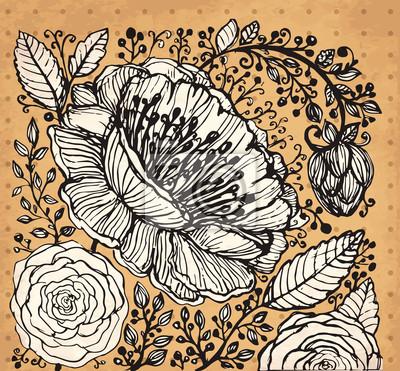 Vector strony rysowane ilustracji z kwiatami