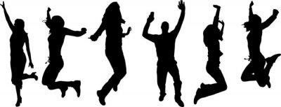 Fototapeta Vector sylwetki tańczących ludzi.