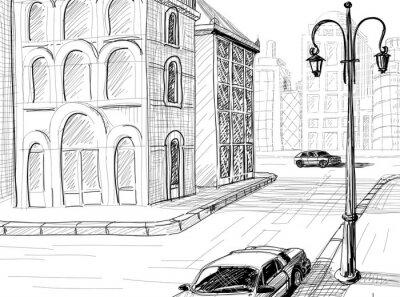 Fototapeta Vector szkic tło Miasto