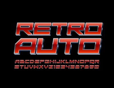 Fototapeta Vector techno banner Retro Auto with Red and Metal 3D Font. Industry style Alphabet Letters and Numbers