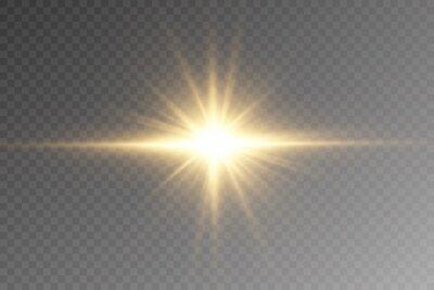 Fototapeta Vector transparent sunlight special lens flare light effect. PNG. Vector illustration .