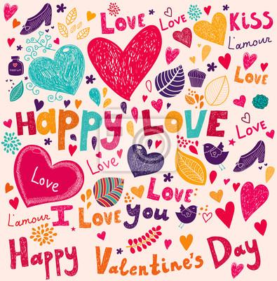 Fototapeta Vector Valentine Karta z pozdrowieniami z kwiatów
