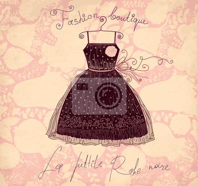 Vector vintage czarna sukienka