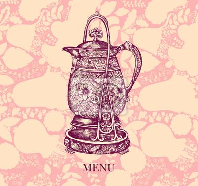 Fototapeta Vector vintage dzbanek do kawy