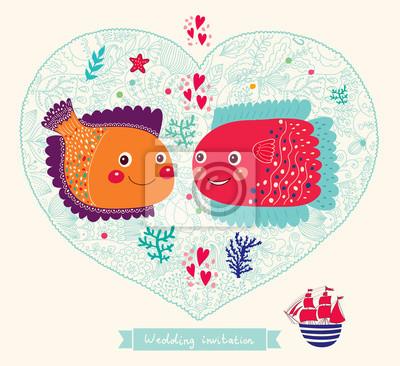 Fototapeta Vector wedding invitation with cute fishes