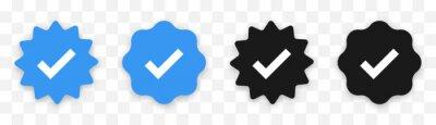 Fototapeta Verified badge profile set. Social media account verification icons . Isolated check mark  on black and blue. Guaranteed signs. Vector illustration.