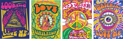 Fototapeta Vibrant colorful We Need Peace design in retro hippie style with peace symbol and text over abstract patterns, vector illustration