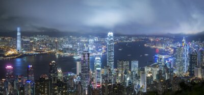 Fototapeta Victoria Port of Hong Kong w nocy