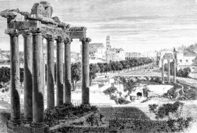 Fototapeta Victorian engraving of a view of the Roman Forum, Rome
