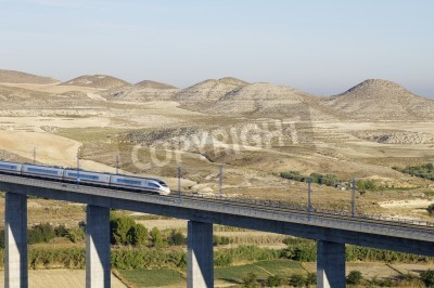 Fototapeta view of a high-speed train crossing a viaduct in Spain